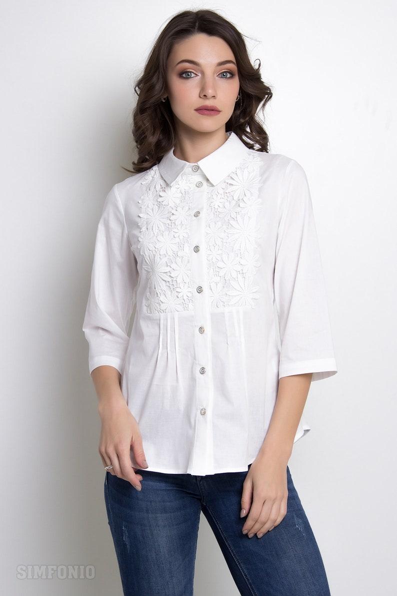 ce46894def8 White formal shirt white lace shirt classic blouse women | Etsy
