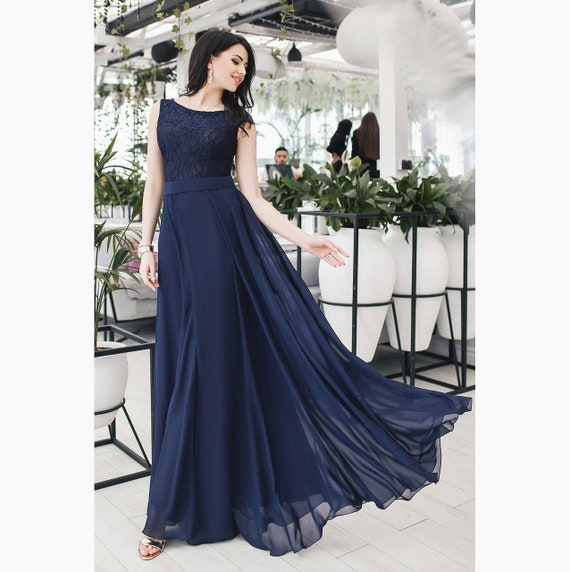 Navy blue evening dress wediing guest lace chiffon dress maxi