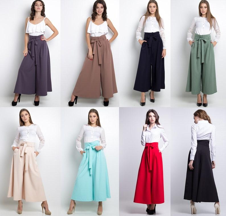 summer wide trousers wide leg pants women culottes pants Beige palazzo pants