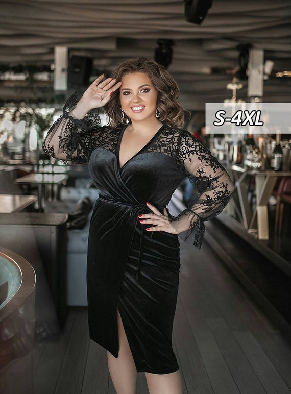 Velvet dress Cocktail dress wrap Plus Size Mod099