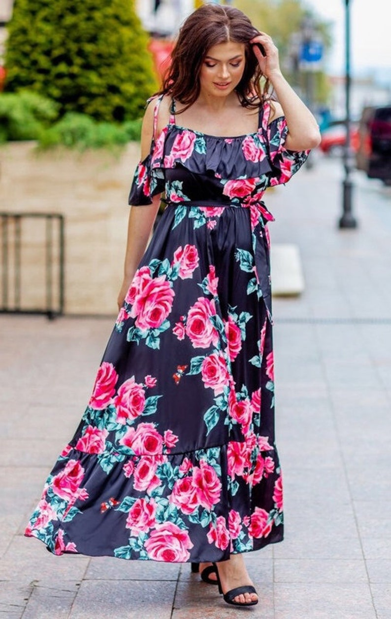 Bohemian Dress Floral Maxi Dress Off Shoulder Dress Wedding Guest Dress