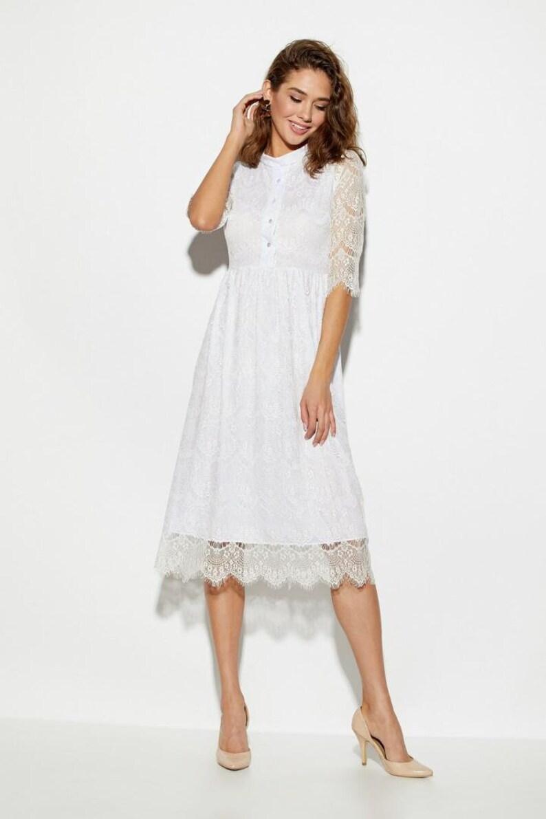 Occasion Dress Bridal Shower Dress White Lace Dress Summer Cocktail Dress Midi Evening Dress