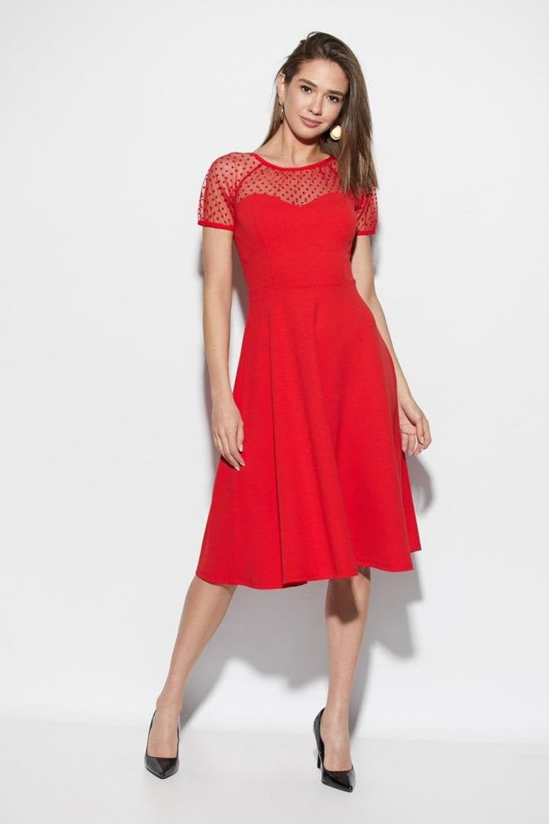 Cocktail Dress Red A Line Dress Wedding Guest Dress Size 4 6 8