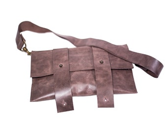 Handmade original design leather 2in1 bicycle bag and hand purse. Gift for cyclist, handlebar bag.