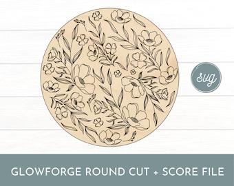 Glowforge Floral Background Score File, Glowforge Background File, Glowforge Round File, Laser Background Round File, Single Line File, Quil