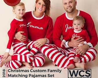 personalized christmas family matching pajamas set youth children infant toddler baby dog pjs elf pajamas family christmas outfit - Family Pajamas Christmas