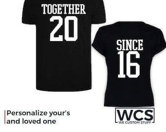 Couple Matching Shirts, Together Since Set of 2 Couple Shirts, Best Matching Couples T-Shirts, Personalized Matching Shirts, Custom Printed