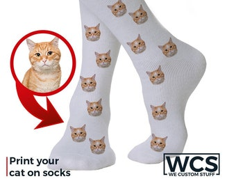 Customized Cat Face Socks - Personalized Cute Cat Custom Socks - Put Your Cat on Custom Socks Funny Gift