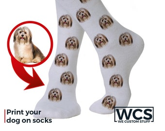 Customized Dog Face Socks - Personalized Cute Dog Custom Socks - Put Your Dog on Custom Socks Funny Gift
