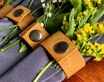 Genuine Leather Napkin Rings - Set of Six or Set of Twelve