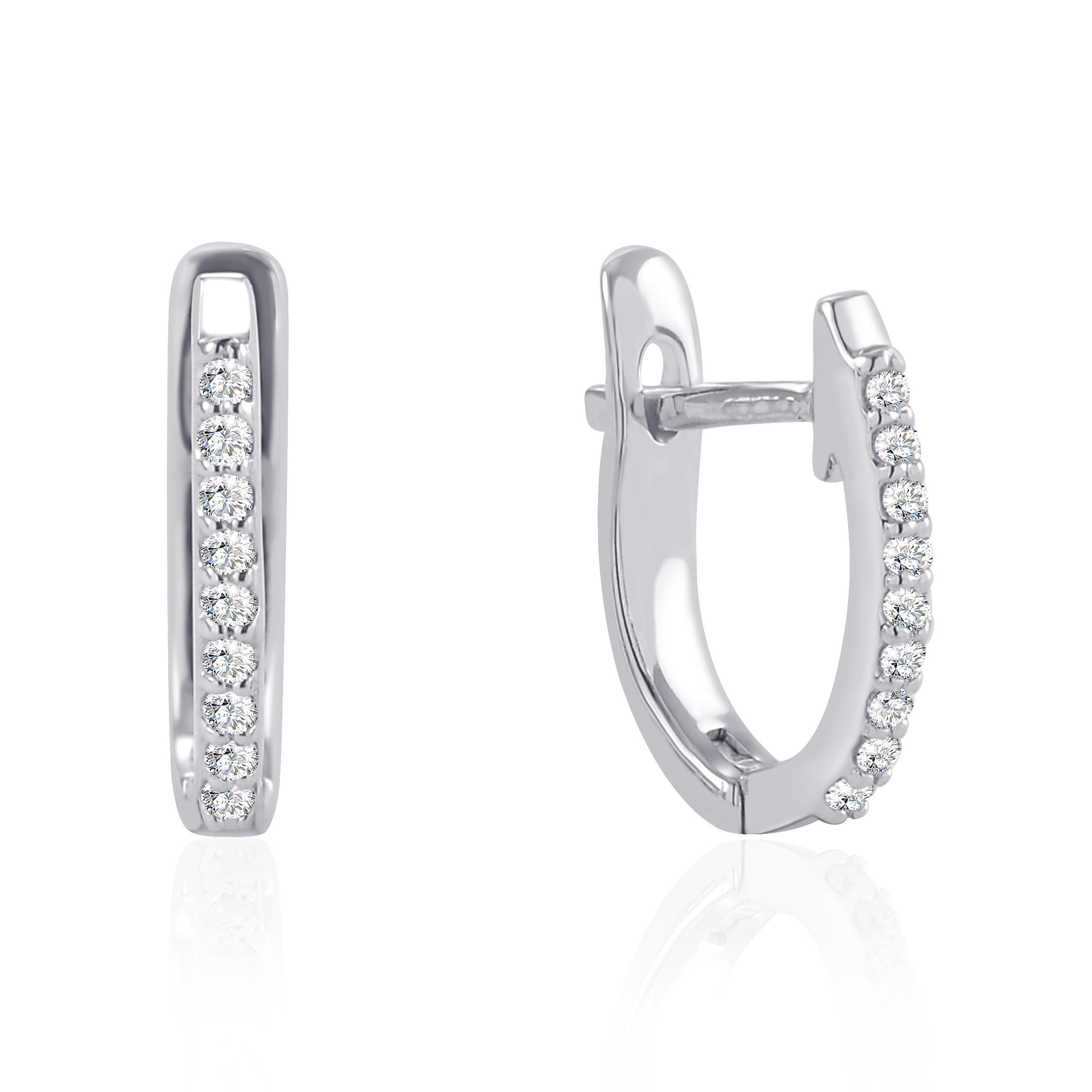 10K Gold Diamond Hoop Earrings Women Diamond Huggie Earrings