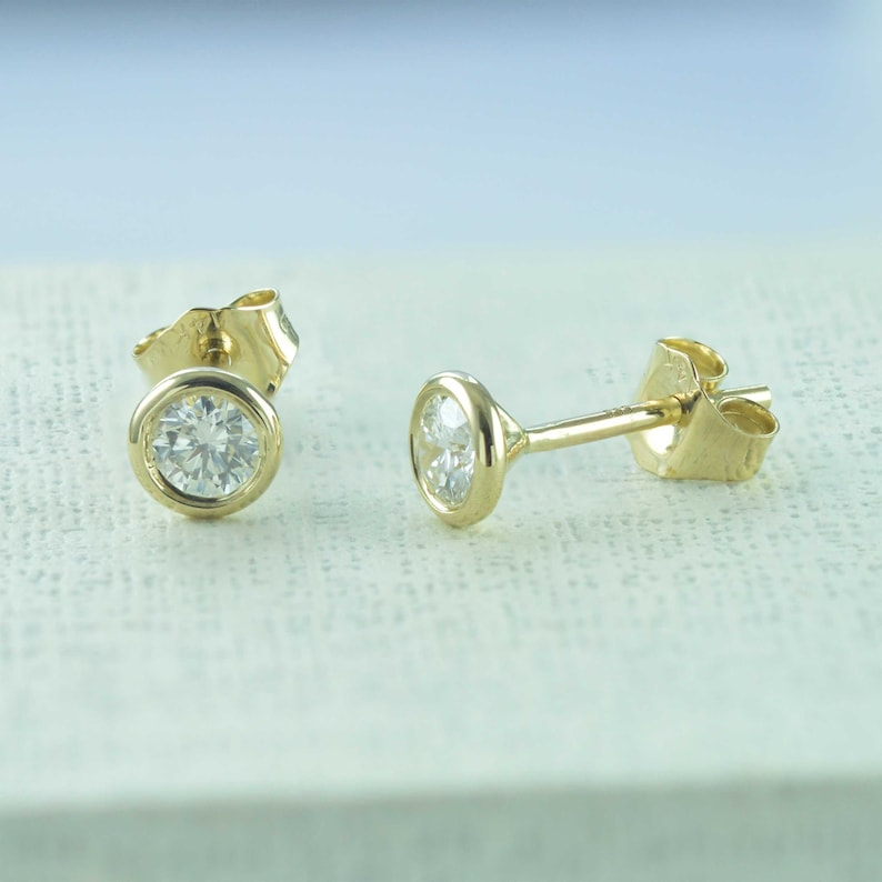 cdafadf0878 Natural Diamond Stud Earrings, Diamond Earrings , Bezel Set Earrings, Solid  14K Yellow Gold Earrings, Dainty Stud Earrings, Stud Earrings