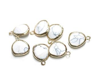 White Howlite Glass Pendant / Glass Charm / Gold Plated Brass Framed Glass / 2pcs / pg05001