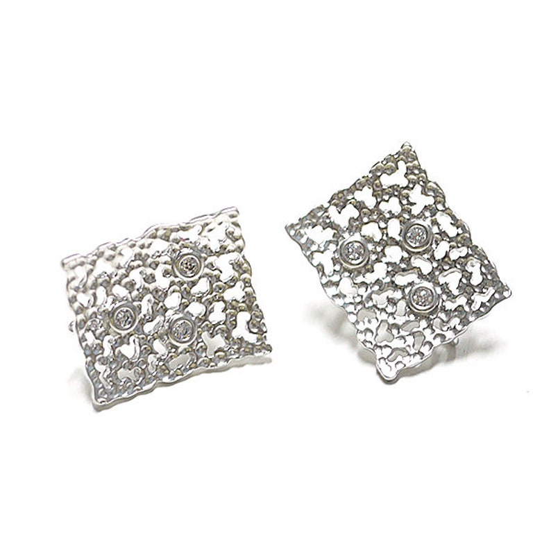 3pieces CZ\uff06Lace Square Shape Earring  Jewelry Making  Matte Rhodium Plated Brass  925 Sterling Silver Post  2pcs  1-eso0002