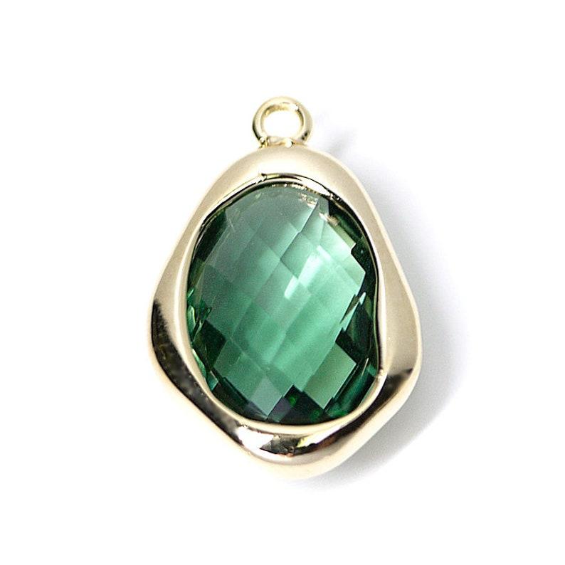 Dark Mint Green Color Irregular Drop Shape Glass Pendant  Charm  Gold Plated Brass Framed Glass  2pcs  1-gcs11