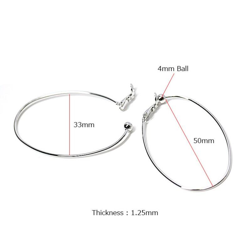 50mm Big Oval Non pierced Earrings  Wedding  Jewelry Making  Rhodium Plated Brass  2pcs  1-ke030