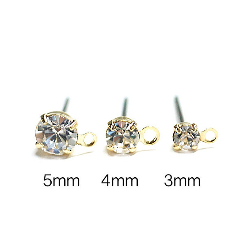 3mm Crystal Color Czech Stone Earring  Titanium Post  Gold Plated Brass  6pcs  gpt01