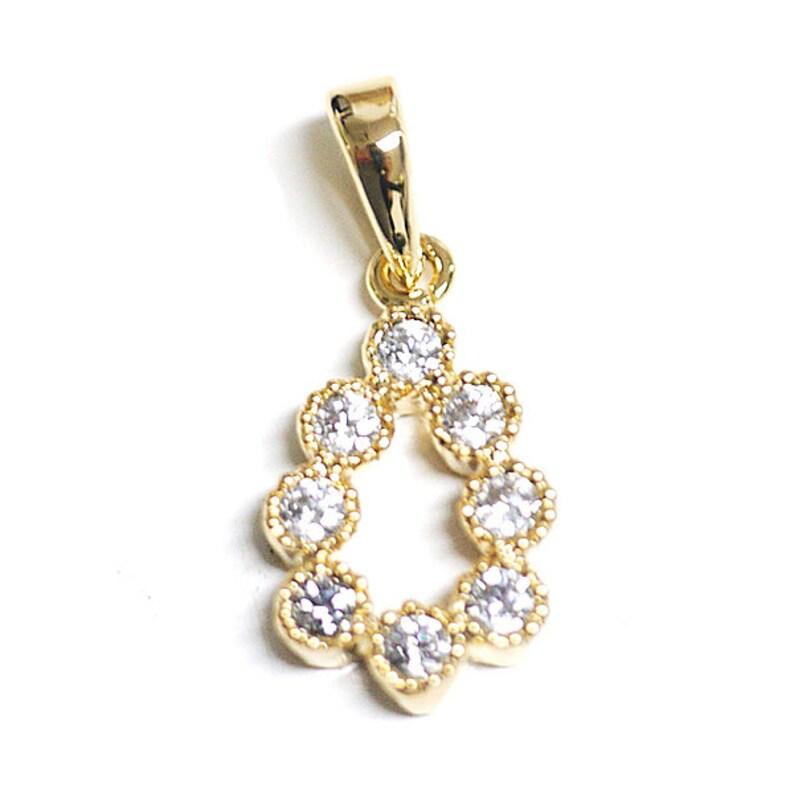 Gorgeous Drop Shape Cubic Zirconia Pendant  Charm  Gold Plated Brass  2pcs  1-db0016