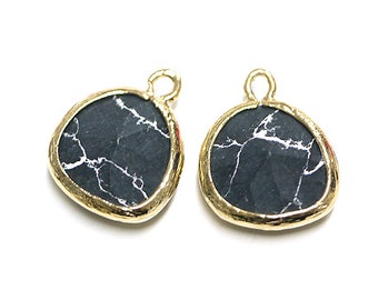 Black Howlite Glass Pendant / Glass Charm / Gold Plated Brass Framed Glass / 2pcs / pg05001