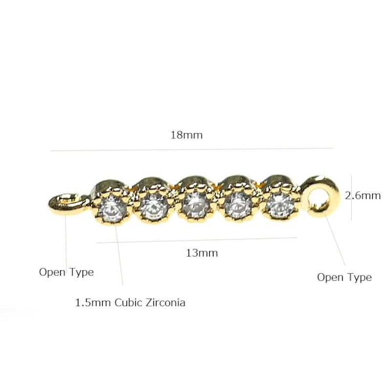 Q5 Cubic Zirconia Bar Shape Connector  Charm  Gold Plated Brass  2pcs  1-czp0005
