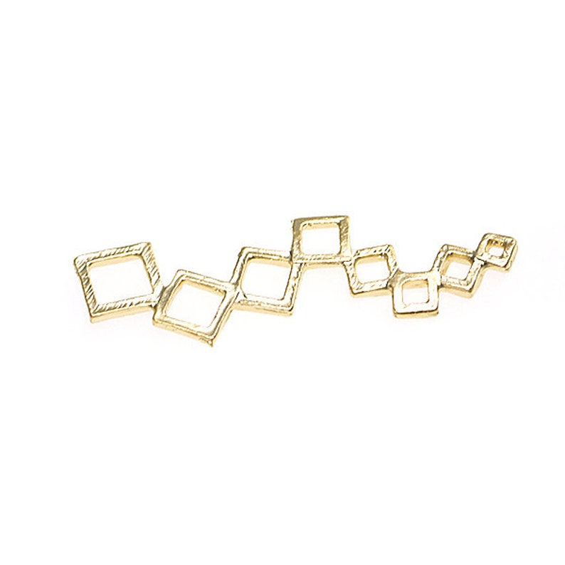 47mm Square Connector  Pendant  Charm  Matte Gold Plated Brass  2pcs  mcp4707