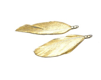 50mm Reversible Gold&Grey Duck Feather / Charm / 2pcs / dcp0606