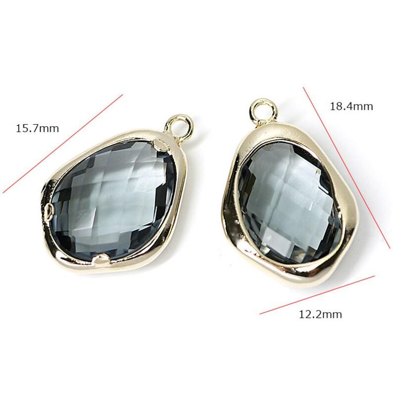 Charcoal Grey Color Irregular Drop Shape Glass Pendant  Charm  Gold Plated Brass Framed Glass  2pcs  1-gcs11