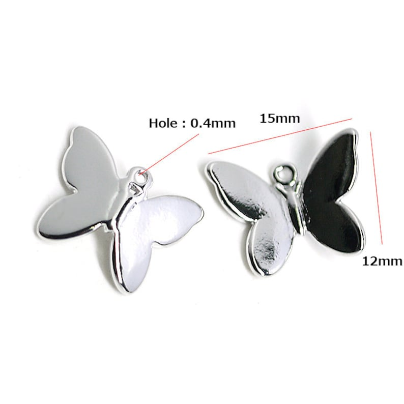 Butterfly Pendant  Charm  Jewelry Making  Rhodium Plated Brass  1piece  jp01