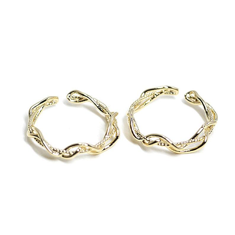 Curved Twist Trio Line Ring  Jewelry Making  Wedding  Nickel Free  Gold Plated Brass  1pcs  ir21