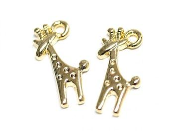 Cute Giraffe Pendant / Gold Plated Brass / 2pcs / p525003
