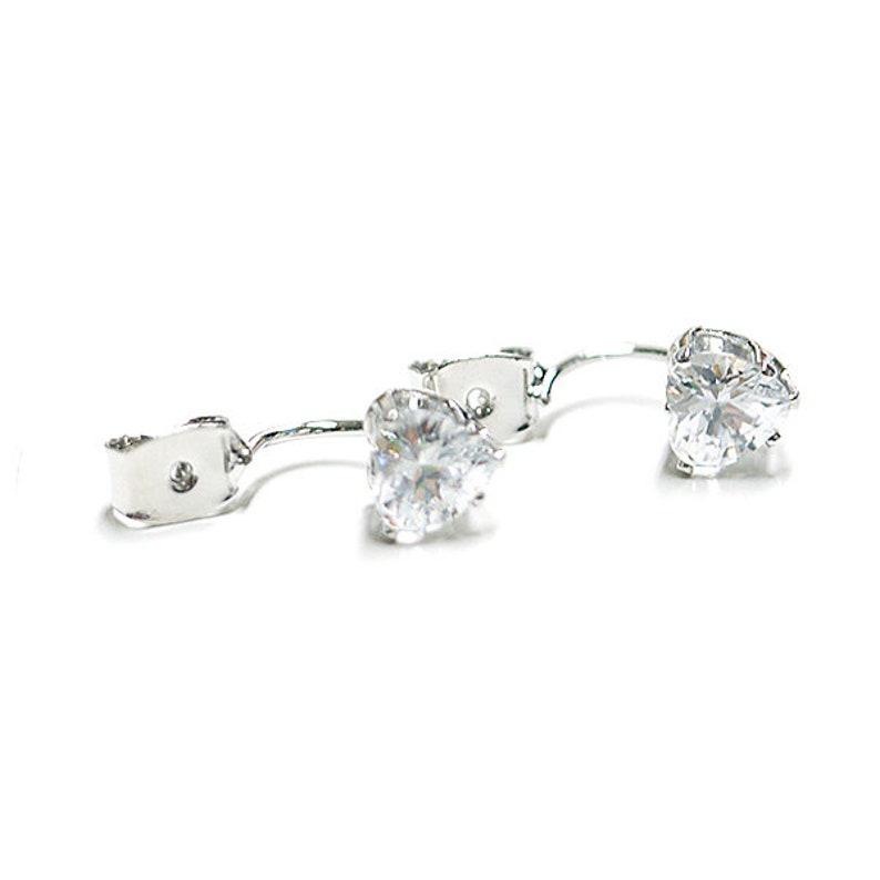 Cubic Heart Clutch  Ear Jacket Earrings  Rhodium Plated Brass  2pcs  gc04