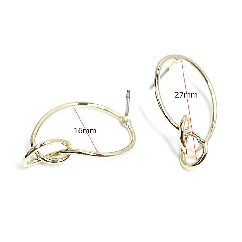 Round Knot Earrings  Jewelry Making  Titanium Post  Gold Plated Brass  2pcs  eje66