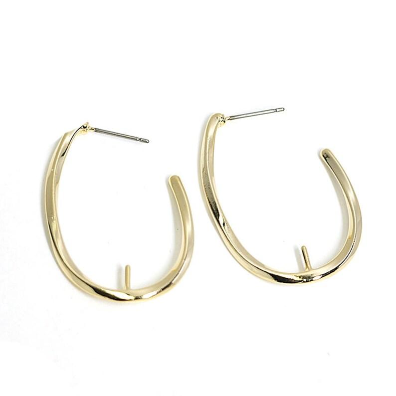 34mm Drop Earrings\uff08Pin\uff09  Jewelry Making  Wedding  Gold Plated Brass  Titanium Post  2pcs  abe04