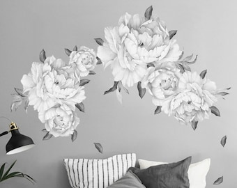 Flower wall decals etsy black white peony flower wall decal vintage watercolor peel and stick reusable wall sticker removable reusable wall decal dws1044 mightylinksfo