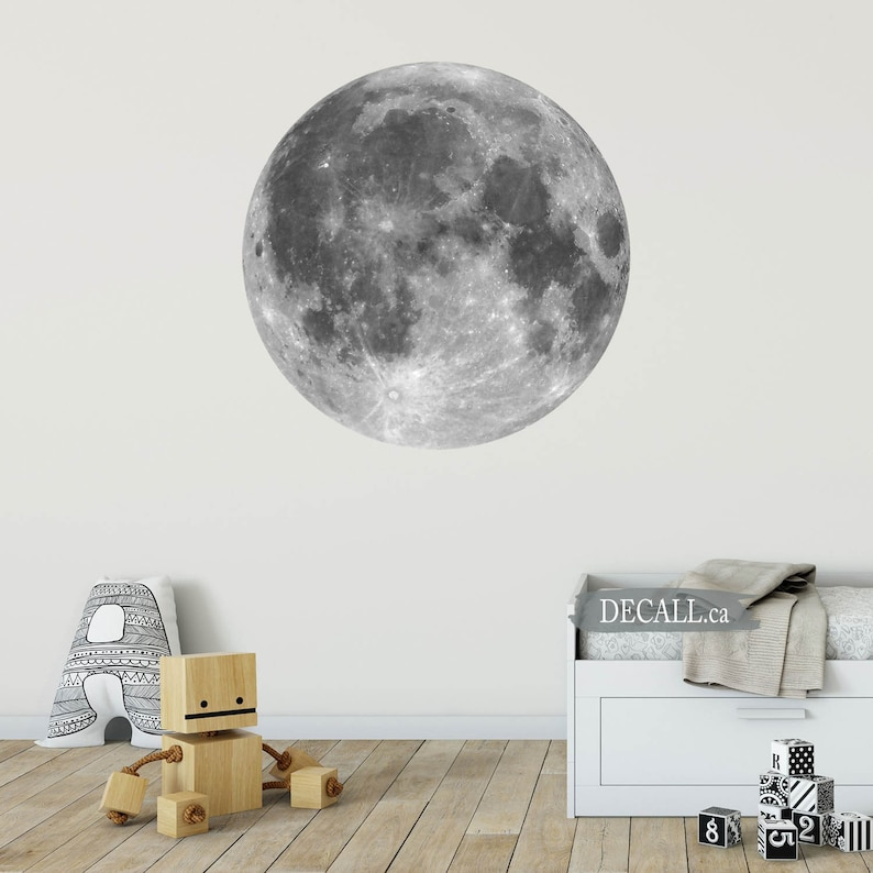 DWS1157 Nursery Moon Decor Peel and Stick Reusable Moon Wall Decal Black /& White Full Moon Space Wall Sticker Removable Wall Sticker