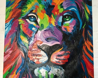 Hand Painted Abstract Lion Painting