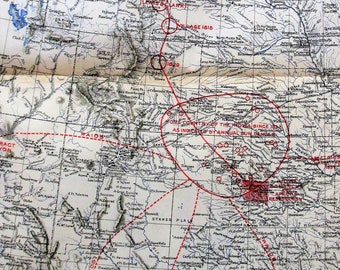 1898 Antique Map. Kiowa Migration Route. Home Country from 1832 to 1868 and Present Reservation by James Mooney