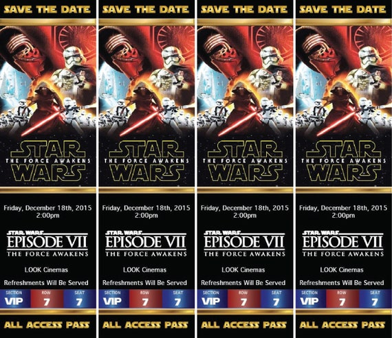 movie premiere ticket invite star wars movie party vip all etsy