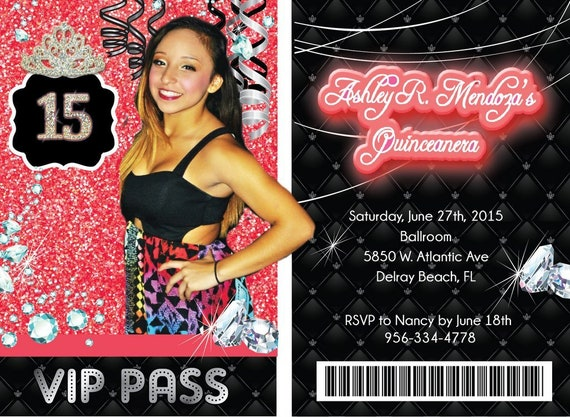 ba0a9d72c63 Quinceanera VIP Invitation on Lanyard Party Invite VIP ON