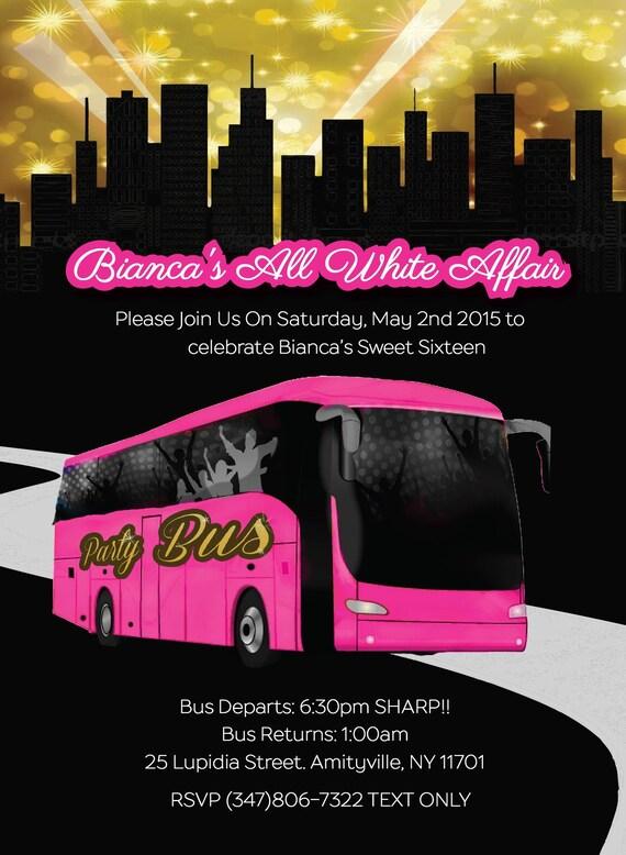 5 X 7 Party Bus Vip Tour Invite Bachelorette Party Invite Etsy
