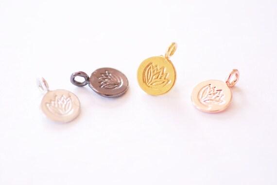 16K Plated over Brass Flat Cutout Yoga Meditation Buddha HarperCrown Wholesale Charms B272 Lotus Flower Charm