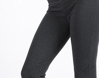 604cb53a46 yoga pants, work pants, fold over top, no buttons, stretch, flare bottom,  elastic, gray