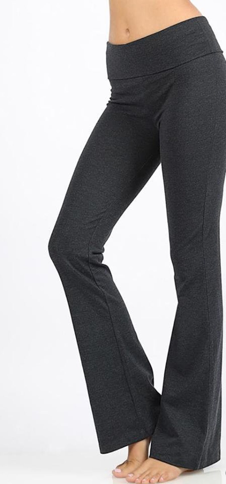 thoughts on lowest price online store yoga pants, work pants, fold over top, no buttons, stretch, flare bottom,  elastic, gray