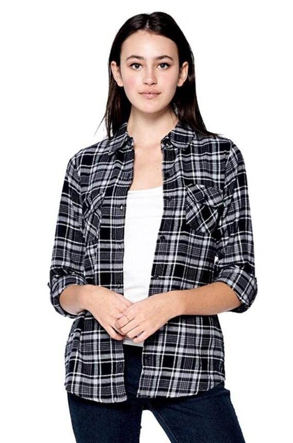 edbee981 Plaid flannel women's plaid shirt button down plaid | Etsy