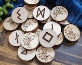 Elder Futhark Runes Set - Viking Runes - Divination and Healing - Wood Runes - Spiritual Gift - Spiritual Art - Witchy - Pagan