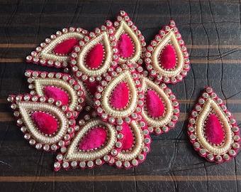 1 Pair Peach Indian patches saree  Sew Patches Appliques Decorative Appliques Indian Dresses Patches Beaded Appliques Decor Patches APP162