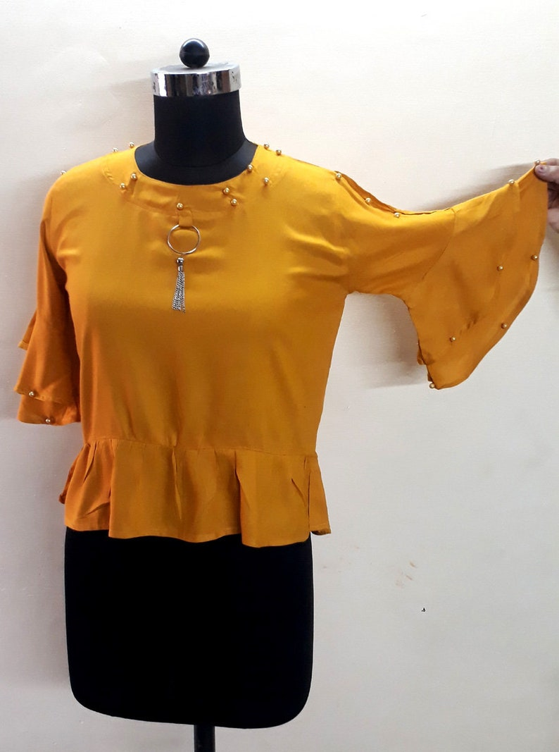 Indian Trendy Saree Blouse Crop Top beaded  Work Designer Rayon Tops for Women Casual Wear 2-Colours Availabe Grey and Yellow Top
