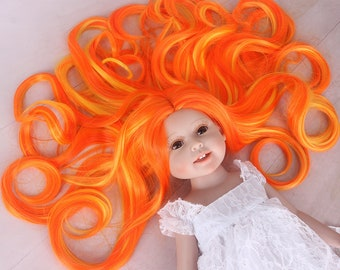 American Girl Doll Wig Ombre Orange Yellow Highlights Long Curly Synthetic Hair for AG Doll Bald Head