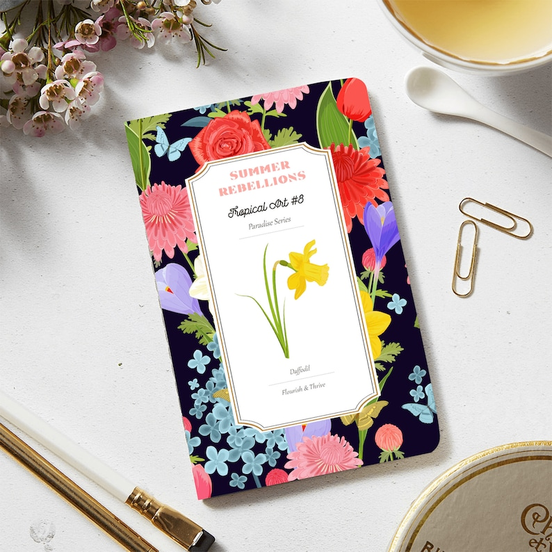 Cute School Supply Personalized Journal Customized Notebook Yellow Daffodil High School Graduation Gift College Ruled Floral Notebook