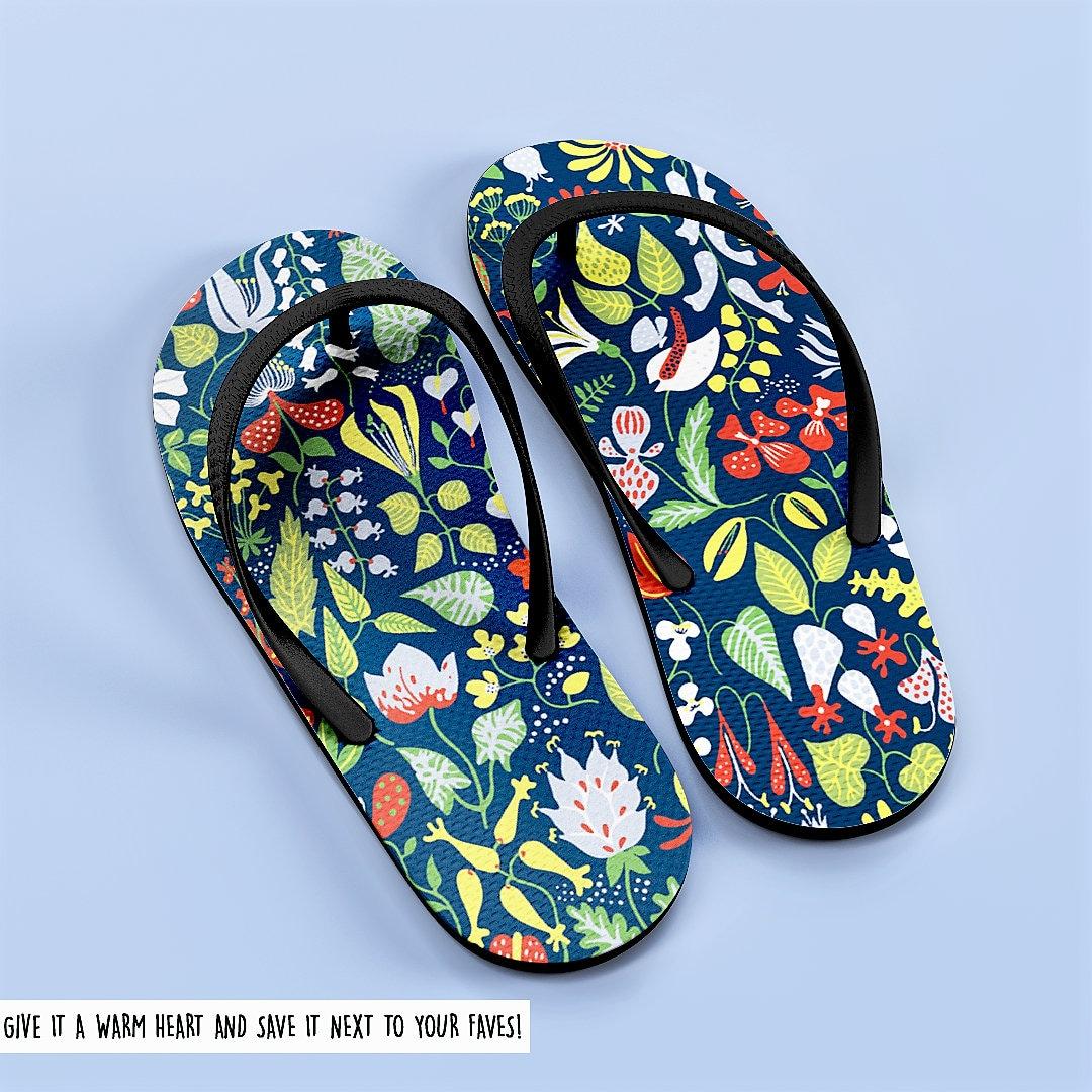 e406a8886fe9a6 Floral Summer Sandal Bridal Flip Flops Rosemaled Slippers